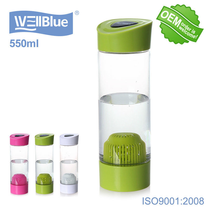 Green Color Portable Small Alkaline Water Bottle 550ml For Water Filtration